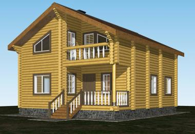 Проект дома из бревна 136 кв.м.
