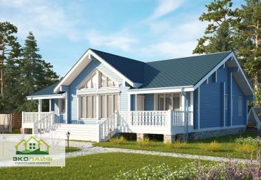 Проект одноэтажного дома из бруса 170 кв.м.
