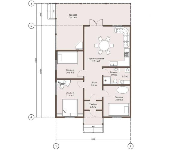 Планировка каркасного дома 97 кв.м.