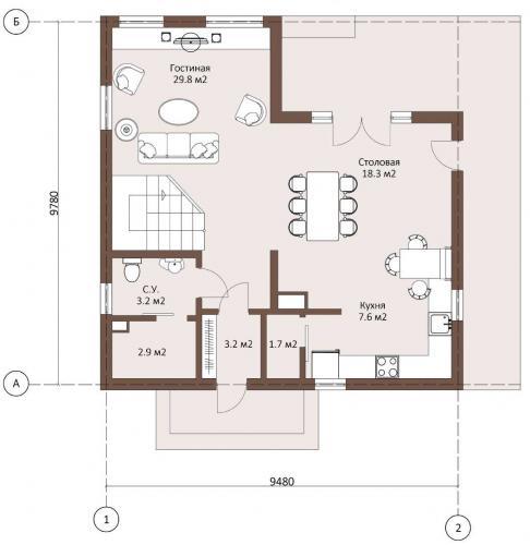 Планировка дома из газобетона 130 кв.м.