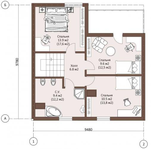 Планировка дома из газобетона до 130 кв.м.