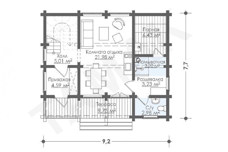 Планировка дома из клеенного бруса 101 кв.м