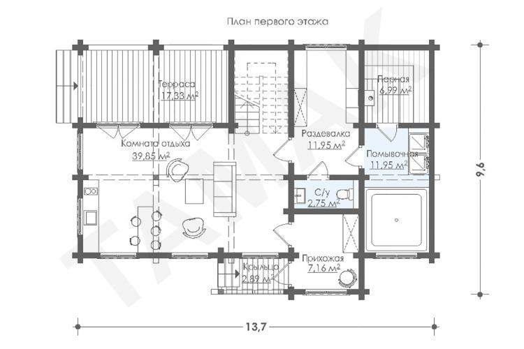 Планировка дома из клеенного бруса 140 кв.м