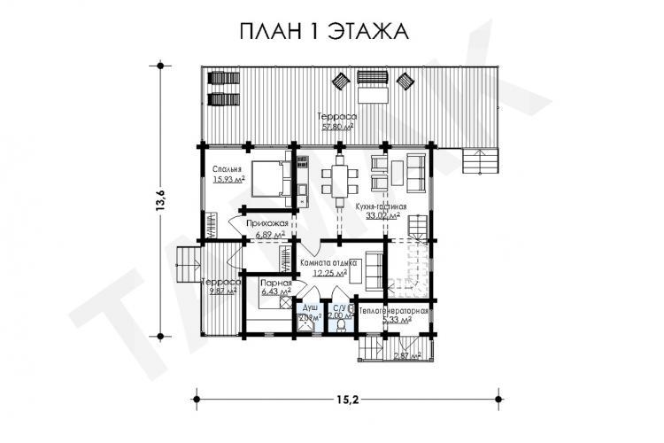 Планировка дома из клеенного бруса 196 кв.м