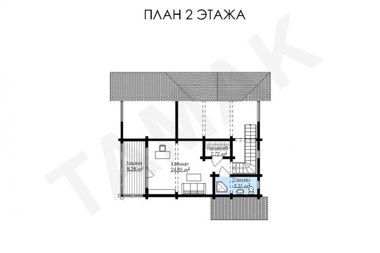 Планировка брусового дома - Второй этаж