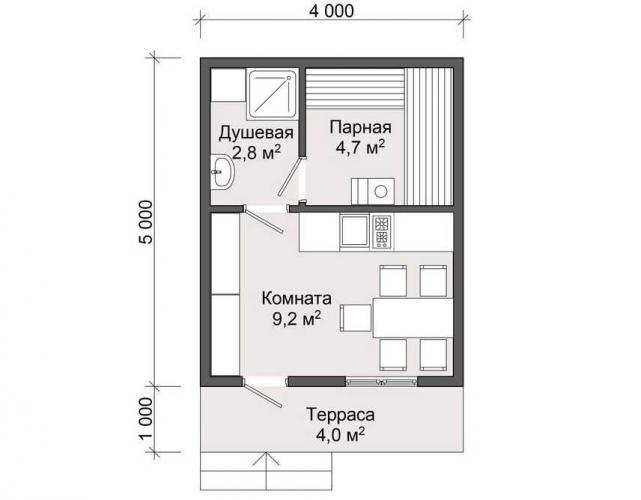 План деревянной бани до 25 кв.м.