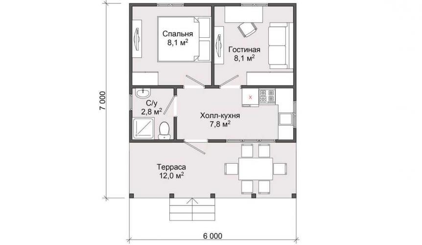 Планировка дома по каркасной технологии до 40 кв.м.