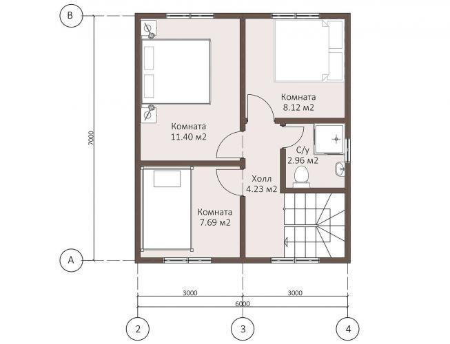 Планировка каркасного дома - Второй этаж