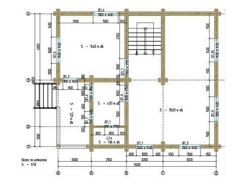 Планировка дома из бревна 136 кв.м.