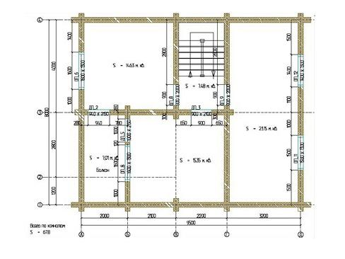 Планировка дома из бревна до 140 кв.м.