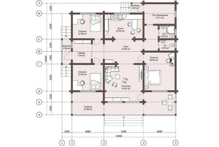 Планировка одноэтажного дома из бруса 170 кв.м.