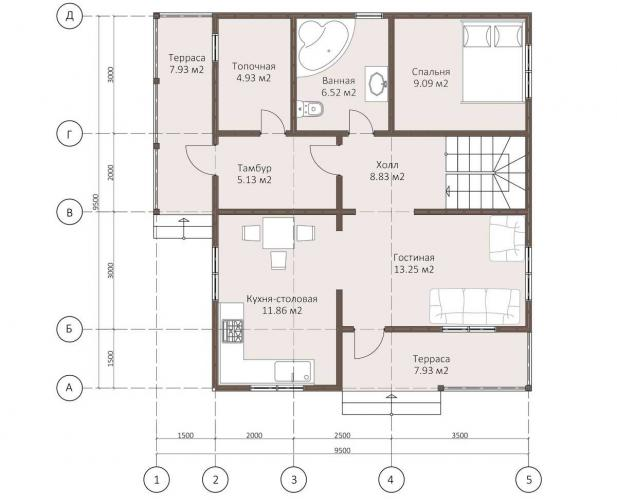 Планировка дома из каркаса 140 кв.м.