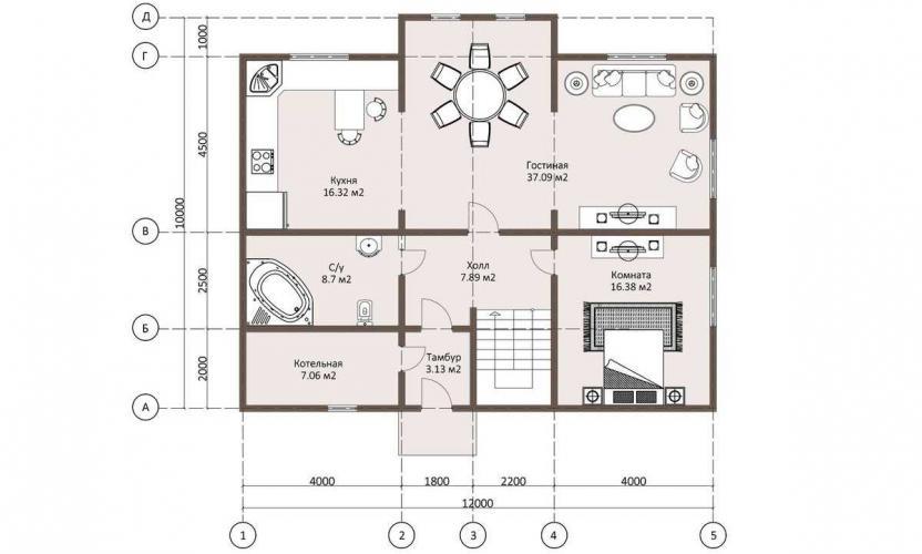 Планировка дома из бруса 200 кв.м