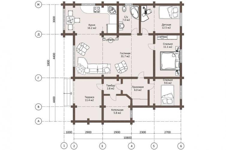 Планировка дома из бруса 110 кв.м.