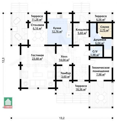 Планировка дома из клееного бруса от 190 кв.м.