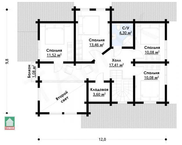Планировка дома из клееного бруса до 200 кв.м.