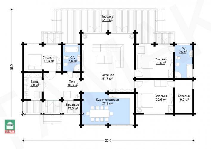Планировка дома из клееного бруса 160 кв.м.