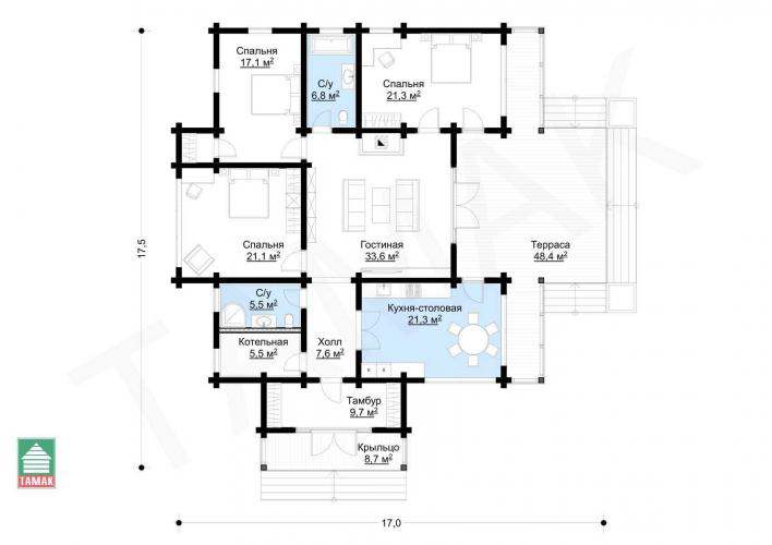 Планировка дома из клееного бруса 145 кв.м.