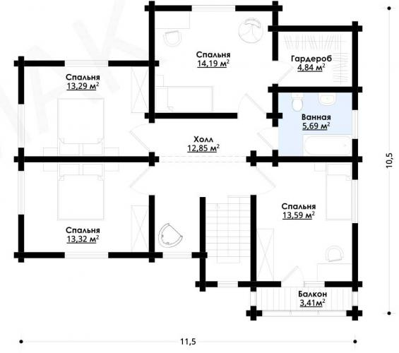 Планировка дома из бруса от 190 кв.м
