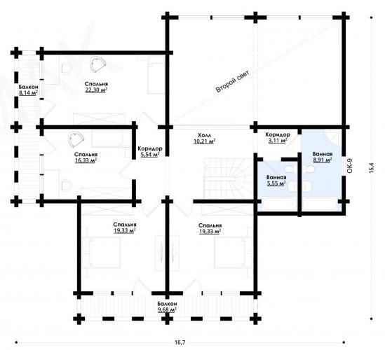 Планировка дома из бруса от 350 кв.м