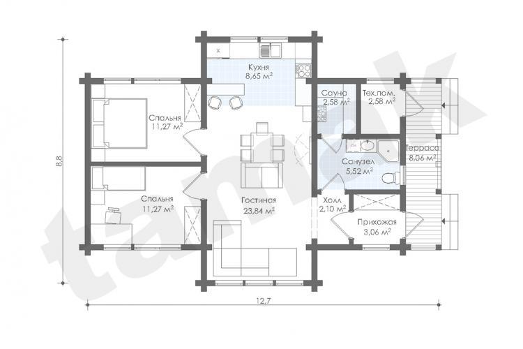 Планировка дома из клеенного бруса 79 кв.м