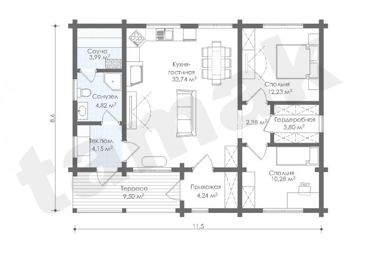 Планировка дома из клеенного бруса 89 кв.м