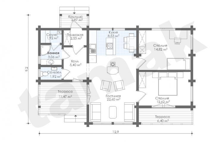 Планировка дома из клеенного бруса 94 кв.м