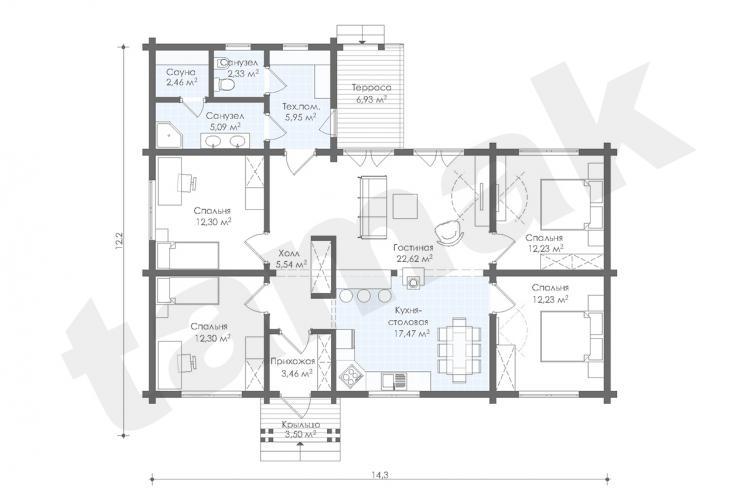 Планировка дома из клеенного бруса 125 кв.м
