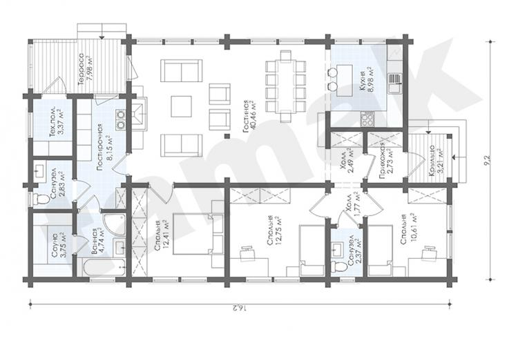 Планировка дома из бруса 129 кв.м под ключ