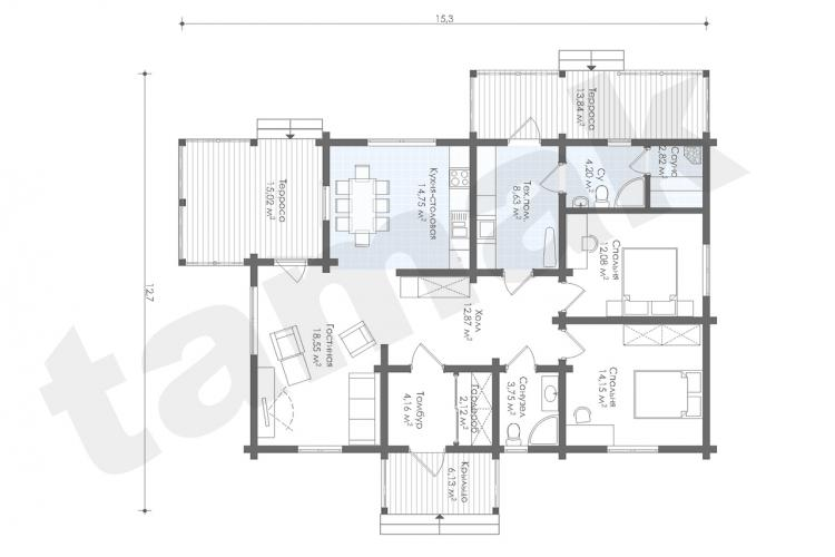 Планировка дома из клеенного бруса 133 кв.м