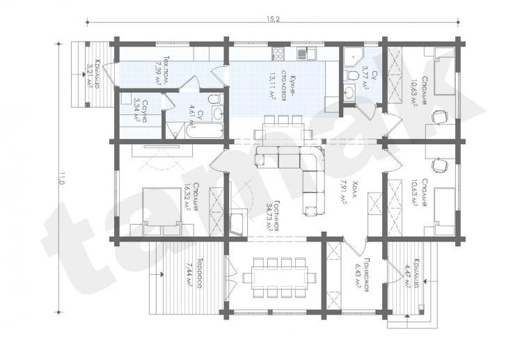 Планировка дома из клеенного бруса 134 кв.м