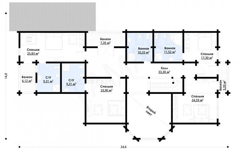 Планировка дорогого дома до 500 кв.м.