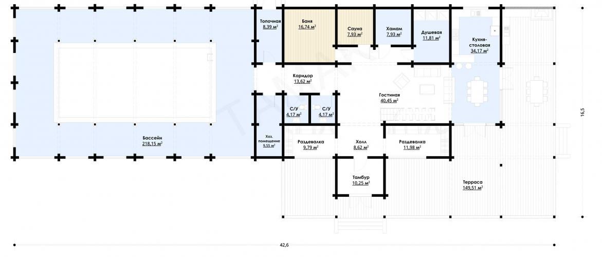 Планировка банного комплекса до 730 кв.м.