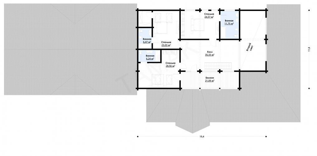 Планировка банного комплекса от 720 кв.м.