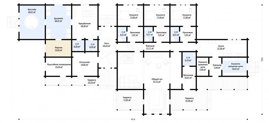 Планировка банного комплекса до 830 кв.м.