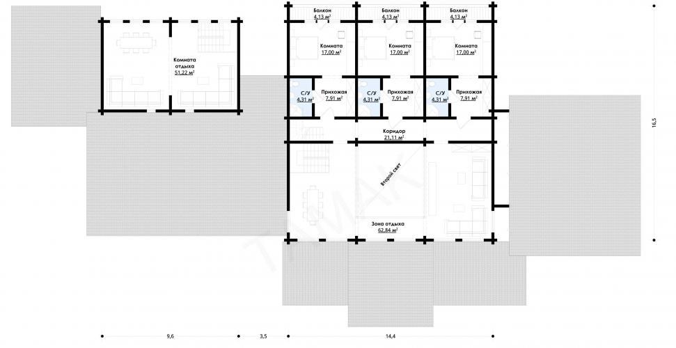 Планировка банного комплекса от 830 кв.м.