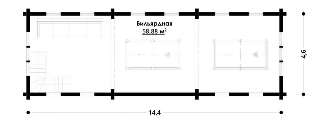 Планировка банного комплекса до 845 кв.м.