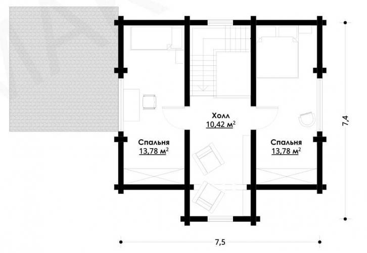 Планировка дома из бруса до 130 кв.м