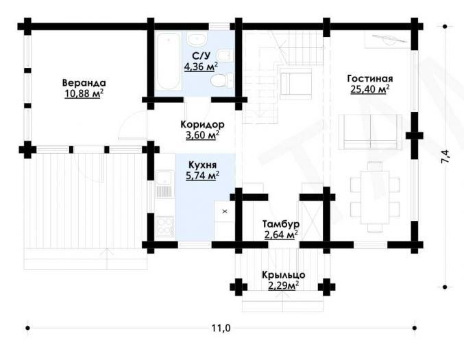Планировка дома из бруса 130 кв.м
