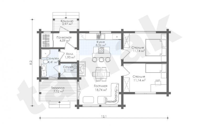 Планировка дома из клеенного бруса 73 кв.м