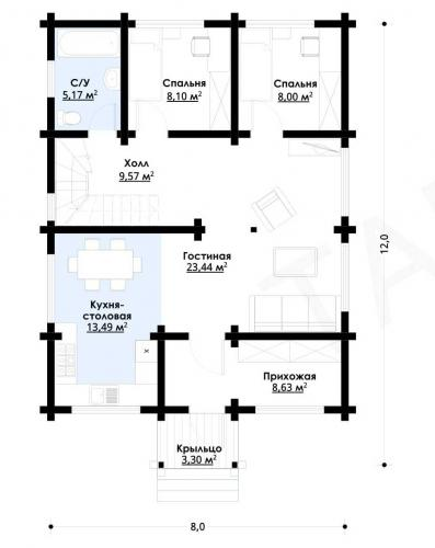 Планировка дома из бруса 150 кв.м