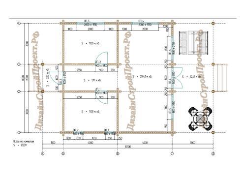 Планировка дома из бруса 99 кв.м.
