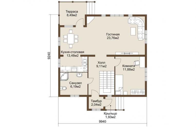Планировка дома из газобетона 141 кв.м.