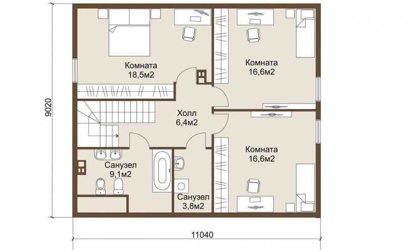 Планировка газобетонного дома 150 кв.м.
