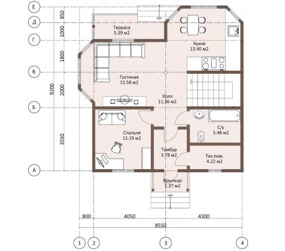Планировка каркасного дома 133 кв.м.