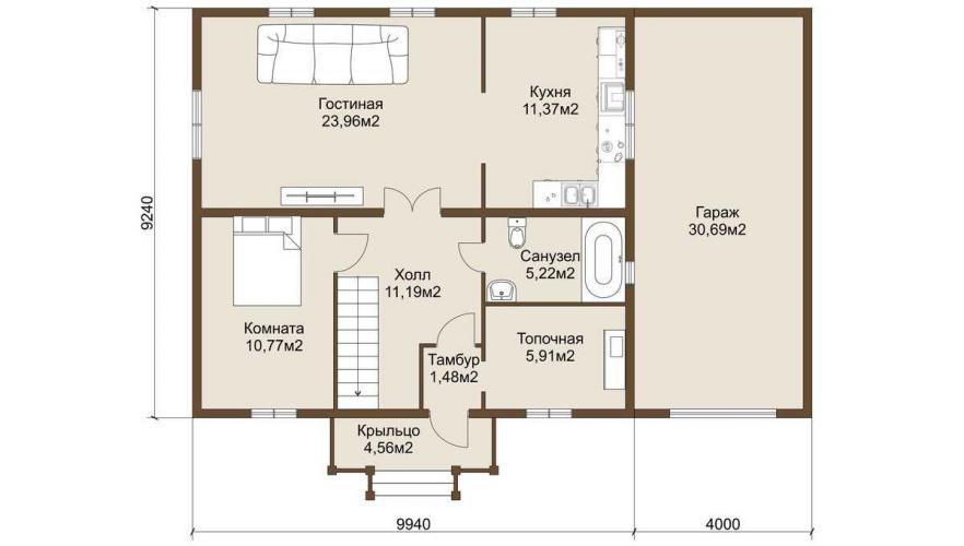 Планировка дома из газобетона от 165 кв.м