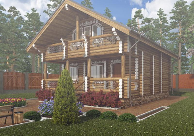 Проект дома из бревна от 110 кв.м.