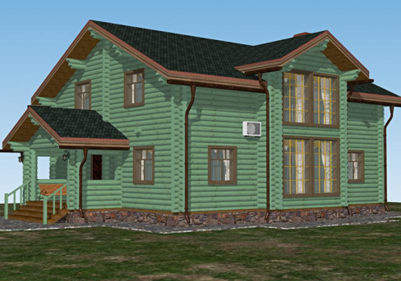 Проект дома из бревна 236 кв.м.