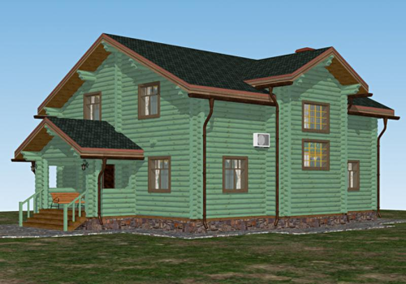 Проект дома из бревна от 230 кв.м.